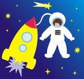 Nave espacial y el astronauta Foto de archivo