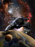 Nave espacial y planeta gigantescos stock de ilustración
