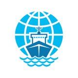 Nave & globo Logo Sign Fotografia Stock Libera da Diritti