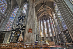 Nave of gothic church Notre Dame du Sablon royalty free stock photography