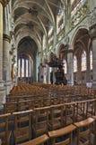 Nave gothic kościelny Notre Damae Du Sablon Fotografia Royalty Free