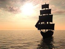 Nave hacia fuera en la madrugada del mar. Foto de archivo libre de regalías