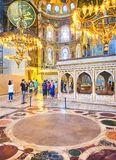 The Nave of the Hagia Sophia mosque. Istanbul, Turkey. royalty free stock image