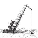 Nave industriale che scava la sabbia, dragaggio marino della chiatta gru enorme illustrazione di stock