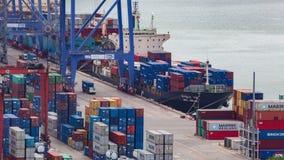 Nave industriale del trasporto del carico del contenitore stock footage
