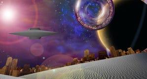 Nave interstellare della città vicino al pianeta anellato royalty illustrazione gratis