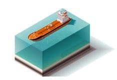 Nave isométrica del buque de petróleo del vector stock de ilustración