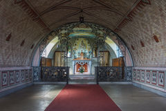 Nave leads to altar in Italian Chapel, Orkneys, Scotland. Stock Photography