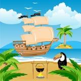 Nave mit Segel neben Küste in den Tropen vektor abbildung