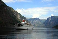 Nave nel fiordo norvegese Fotografia Stock Libera da Diritti