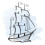 Nave nell'oceano illustrazione vettoriale