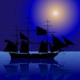 Nave nella notte Fotografia Stock Libera da Diritti