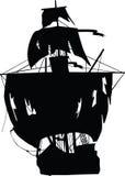 Nave nera dei pirati illustrazione di stock
