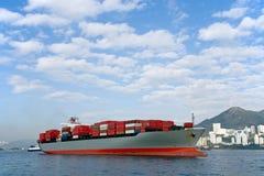 Nave porta-container ancorata Fotografia Stock