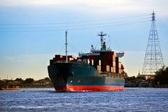 Nave porta-container del carico, Asia, Bangkok, Tailandia. Fotografia Stock Libera da Diritti