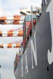 Nave porta-container del porto di Amburgo Immagini Stock Libere da Diritti