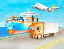 Nave porta-container dell'acquerello e supporto del camion sul pilastro vicino per le illustrazioni nell'argomento di logistica T illustrazione di stock