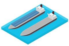 Nave porta-container isometrica di vettore in mare Fotografia Stock