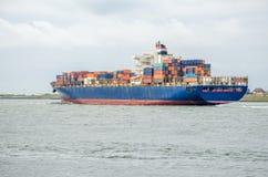 Nave porta-container nel porto di Rotterdam, Olanda Fotografia Stock Libera da Diritti