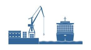 Nave porta-container nella porta illustrazione di stock