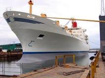 Nave porta-container in un bacino del cantiere navale Immagini Stock