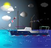 Nave que flota en el mar Imagenes de archivo