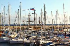 Nave russa in porto spagnolo Fotografia Stock