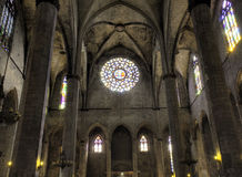 Nave of Santa Maria del Mar in HDR Stock Photo