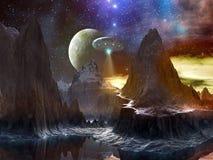 Nave spaziale sopra il percorso della montagna sul mondo distante Fotografie Stock Libere da Diritti