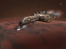 Nave spaziale sopra Marte Immagini Stock Libere da Diritti