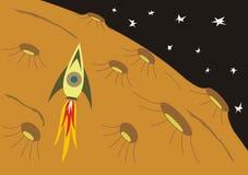 Nave spaziale sul pianeta distante Fotografia Stock Libera da Diritti