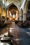 Nave of St. Margaret`s Church in King`s Lynn, Norfolk, England. United Kingdom royalty free stock photo