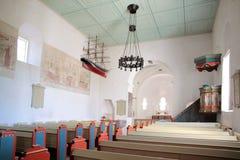 Nave of St. Povel Kirke on Bornholm Stock Image