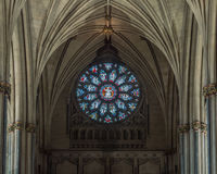 Nave Stained Glass Window with Arches at Bristol Cathedral Royalty Free Stock Photo