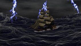 Nave su un mare tempestoso illustrazione di stock