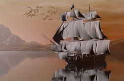 Nave sul mare royalty illustrazione gratis