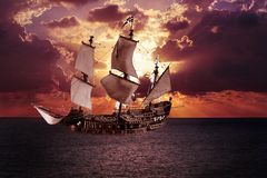 Nave sull'acqua al tramonto illustrazione di stock