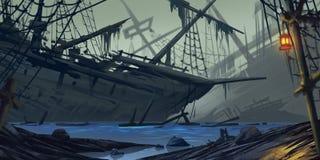 Nave trenzada Nave del fantasma Contexto de la ficción Arte del concepto Ilustración realista ilustración del vector