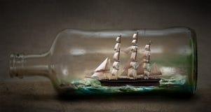 Nave in una bottiglia illustrazione vettoriale
