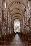 Nave at Vezelay Abbey in Bourgogne Franche Comte in France stock images