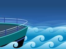 Nave y ondas Foto de archivo libre de regalías