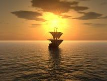 Nave y puesta del sol Imagen de archivo libre de regalías