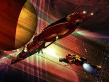 Navegação através dos planetas distantes Fotografia de Stock