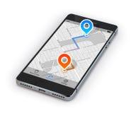Navegação do móbil de Smartphone Imagem de Stock Royalty Free