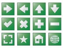 A navegação do Web abotoa o verde Fotografia de Stock