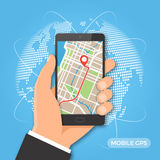 Navegação dos gps e conceito móveis do seguimento Fotografia de Stock