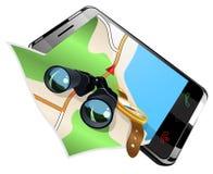 Navegação na ilustração esperta do vetor do telefone Fotografia de Stock Royalty Free