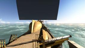 Navegación antigua del galeón en la cantidad del mar ilustración del vector