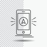 navegación, app, acampando, gps, línea icono de la ubicación en fondo transparente Ejemplo negro del vector del icono ilustración del vector