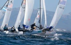 Navegación de la clase de Nacra durante regata en Mallorca Fotos de archivo libres de regalías